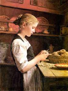 'Niña pelando papas', de Albert Anker (1886). /Wikimedia