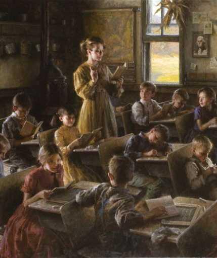 'Escuela de pueblo', de Morgan Weistling (1857). /Pinterest