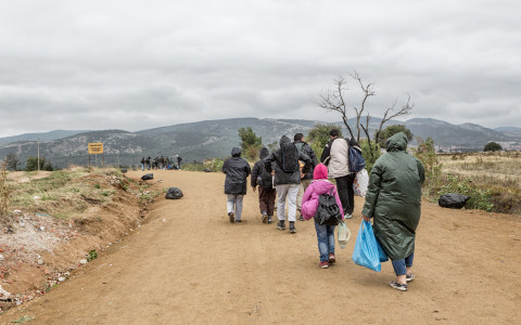 Miratovac, Serbia - September 28, 2015: The entry of immigrants to Serbia at the border crossing Miratovac, Macedonia on the way to the European Union